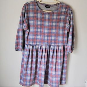 TopShop Blue & Red Plaid Baby Doll Style Dress